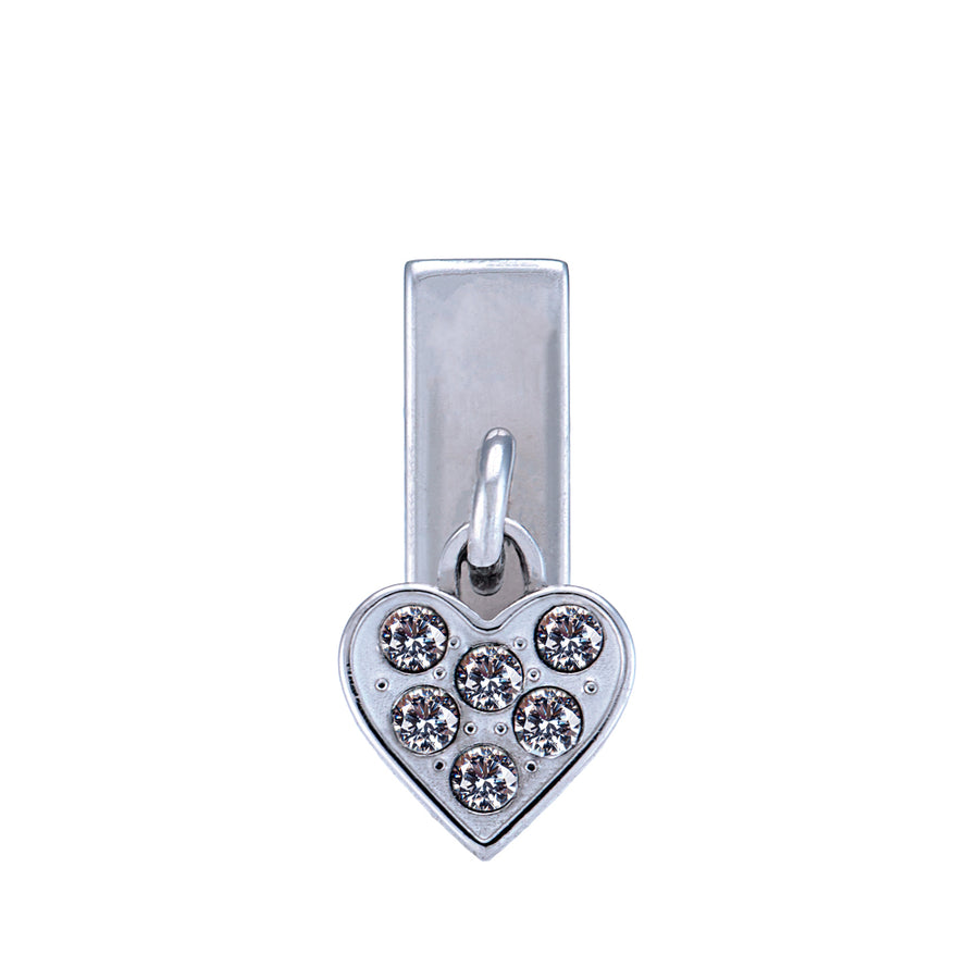 Heart Dangle Rally Charm in Silver Tone