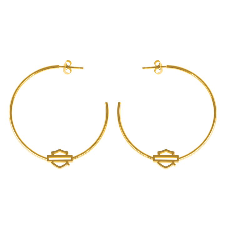 Women's Stainless Steel B&S Large Gold Tone Hoop Earrings HSE0010