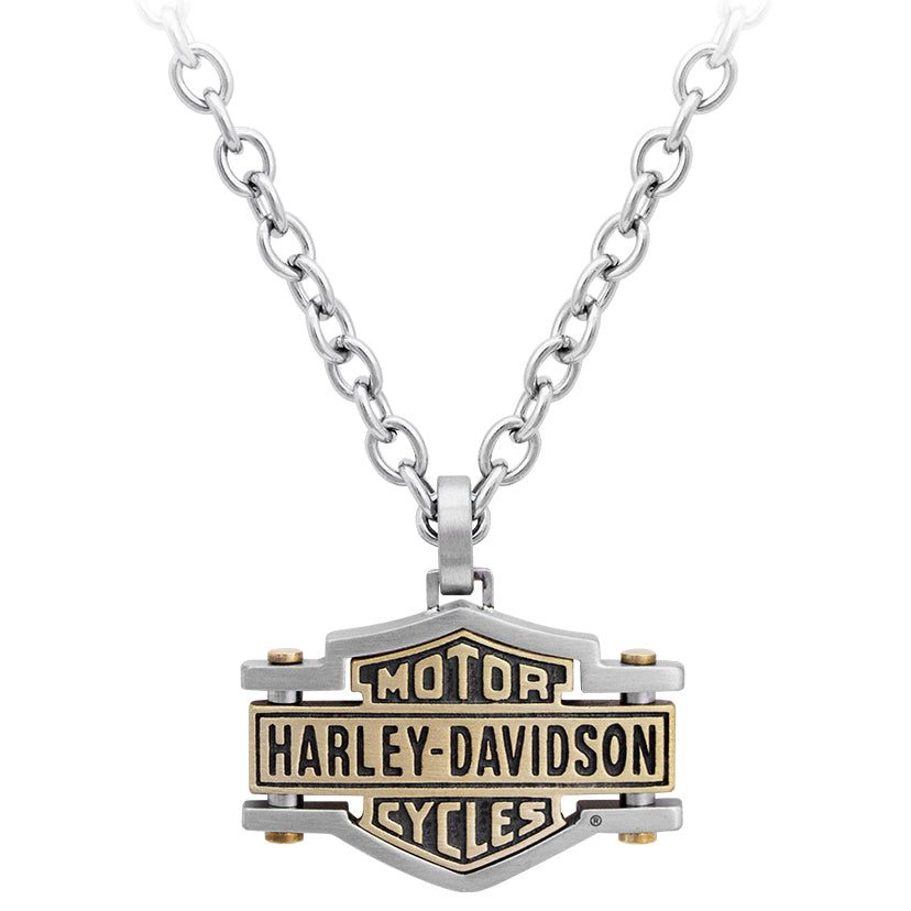 Men's Brass & Steel Bar & Shield Chain Necklace, HSN0045-22