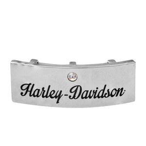 "Large Silver Tone ""Harley-Davidson"" Script Rally Charm"