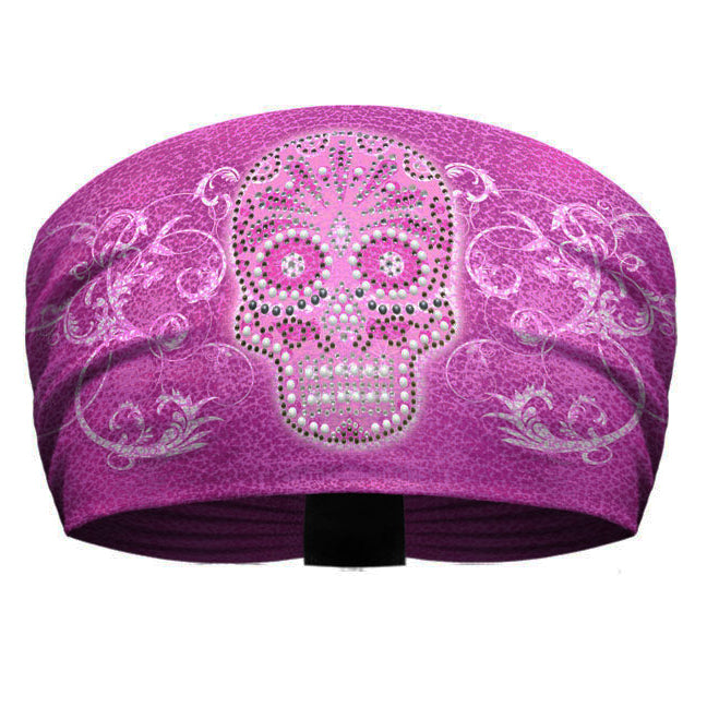 That's A Wrap Blinged Candy Skull Headband KB2927