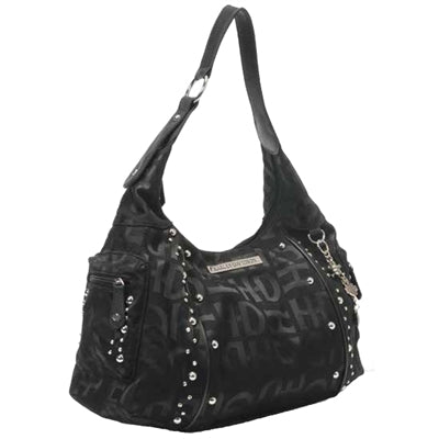 Black H-D Jacquard Hobo Purse