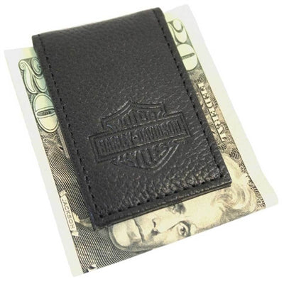 Men's Embossed Leather Magnetic Money Clip MSB8385-BLK