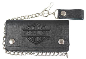 Men's Embossed B&S Tall Trucker Biker Wallet XML3508-BLK