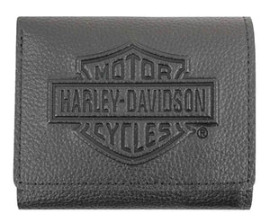 Men's Embossed B&S Logo Tri-Fold XML3571-BLK