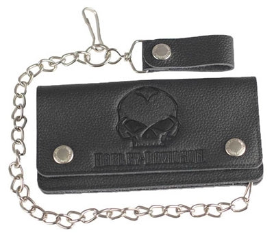 Men's Emboss Willie G Skull Trucker Biker Wallet XML4710-BLK