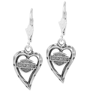 Sterling Silver Heart Dangle Earrings E0133