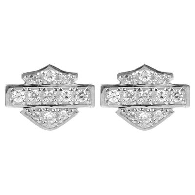 Women's Earrings Bling Bar & Shield Logo Post HDE0228