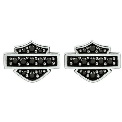 Black Bling Bar & Shield Earrings