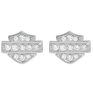 Petite Bling Bar & Shield Earrings