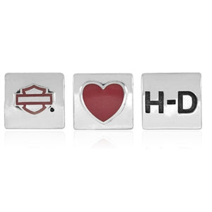 H-D Pink Enamel Heart Ride Bead HDD0086