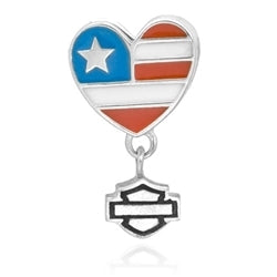 Ride Bead - Heart Flag B&S