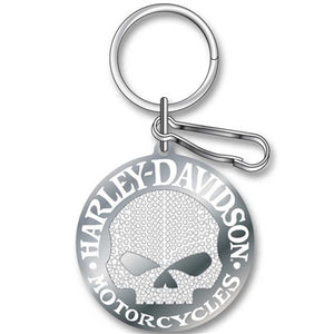 Studded Silver Harley Skull Key Chain PL4340