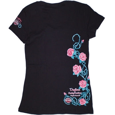 Daytona Custom Rose Tattoo Black Short Sleeve