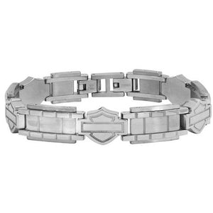 Men's Stainless Steel Bar & Shield Chain Bracelet, Black HSB0192- 7.5