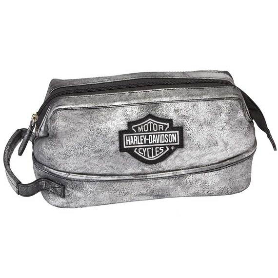 Bar & Shield Distressed Leather Toiletry Kit 99609 Silver