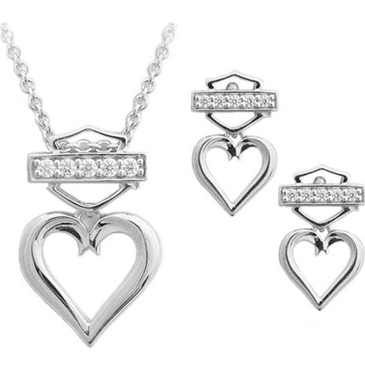 Women's Bling Heart Necklace & Post Earrings Gift Set HDS0008