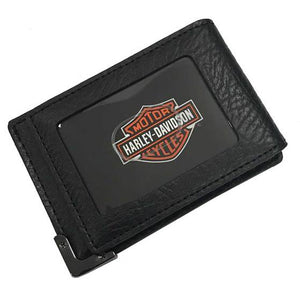 Men's Gunmetal Leather ID Cards Front Pocket Wallet GM6572L-BLK