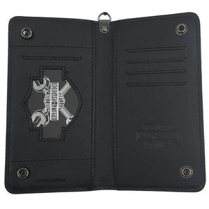 Men's Shot Caller Embossed Biker Leather Wallet HDMWA11048