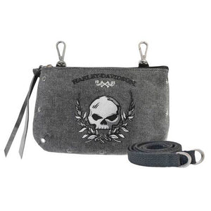 Women's Skull Distressed Denim Hip Bag w/ Strap WDD5350/BLK
