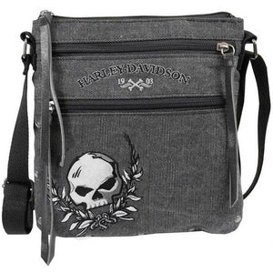Women's Skull Distressed Denim Vertical Crossbody WDD5331