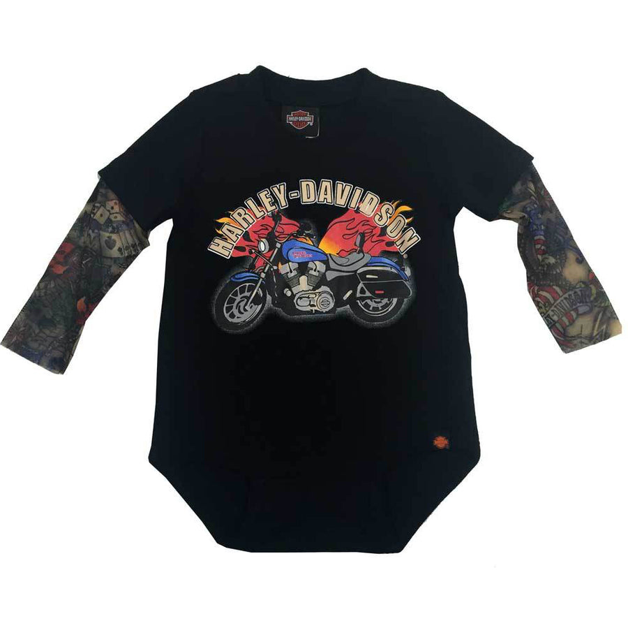 Baby Boys' Motorcycle Newborn Creeper W/ Tattoo Sleeves 3050641