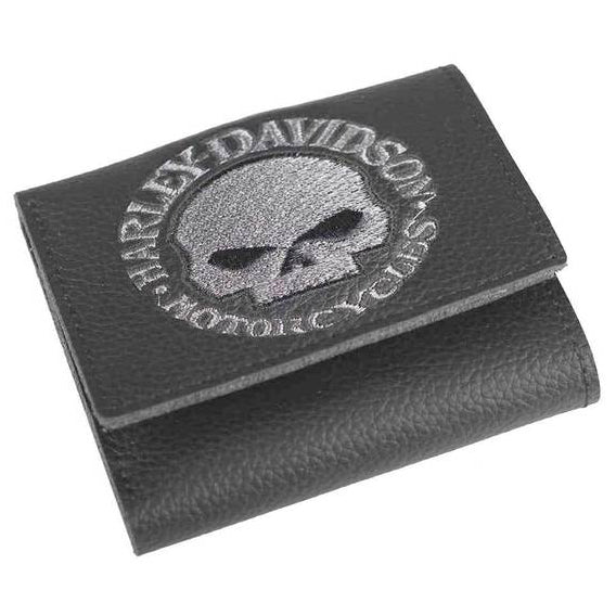 Men's Embroidered Willie G Skull Tri-Fold Wallet XML6145