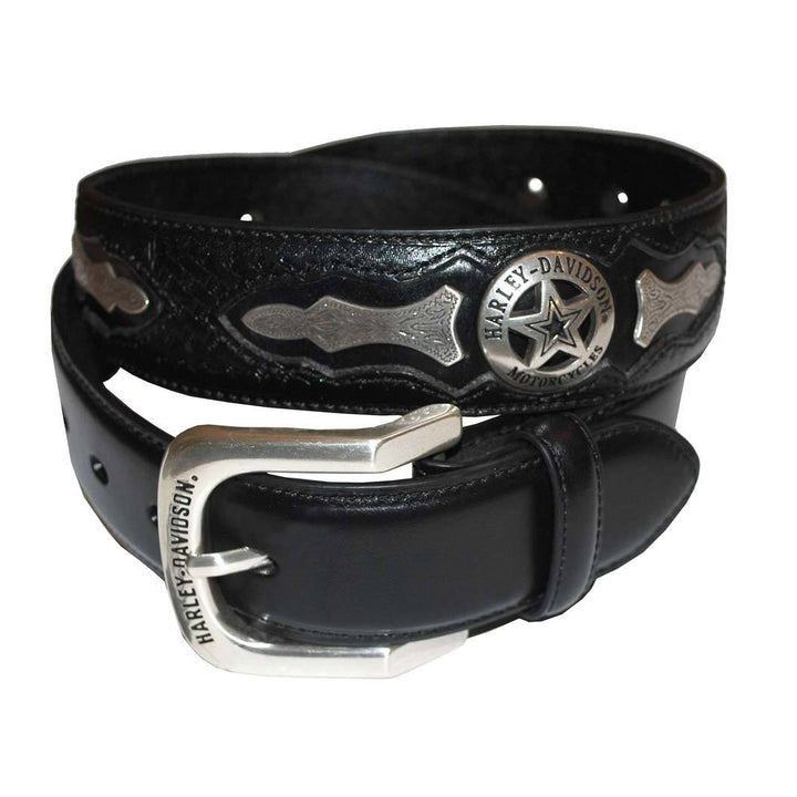 Men's Deputy Black Leather Belt HDMBT10006