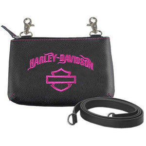 Women's Fuchsia Embroidery Hip Bag w/ Strap FEE2530/FUHBLK