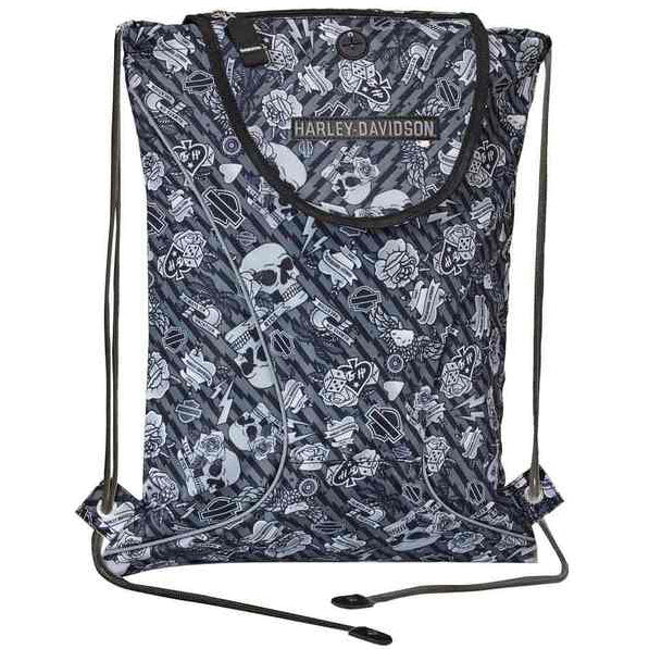 Gray Tattoo Collection Drawstring Backpack 99667/GRYTAT