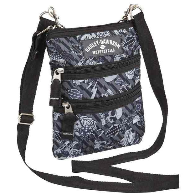 Women's Cross-Body Crossbody Sling Purse Gray Tattoo99616
