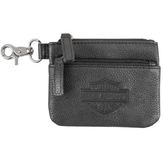 Women's Bar & Shield Embossed Leather Coin Pouch BSE6961
