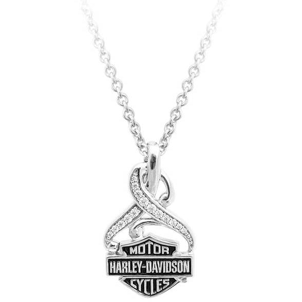 Women's Bling Crystal Filigree B&S Necklace, Silver HDN0409-16