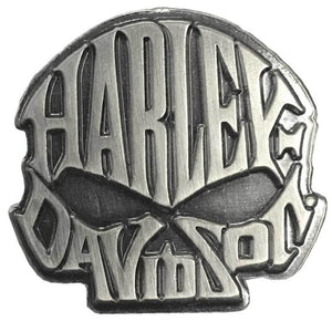 Harley-Davidson Willie G. Skull Text Pin Antique Silver Finish 8008871
