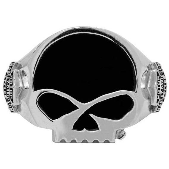 Men's Black Onyx Willie G Skull Ring, Sterling Silver HDR0458