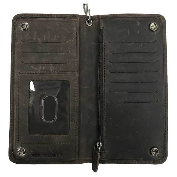 Mens Crazy Horse Biker BiFold Tall Leather Wallet MCH8402