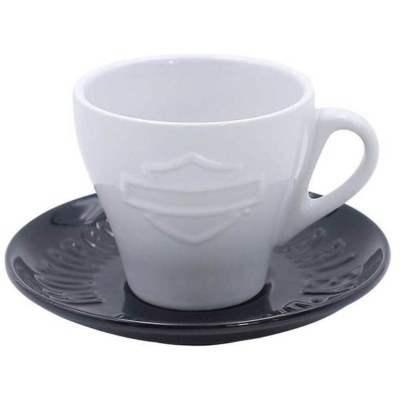 Silhouette Bar & Shield Ceramic Cup & Saucer HDX-98619
