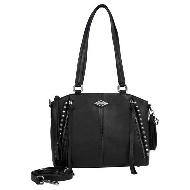 Ball & Chain Genuine Leather Satchel Purse BC6503L/BLK