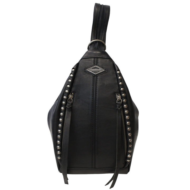 Womens Ball & Chain Convertible Black Leather Backpack BC6189L