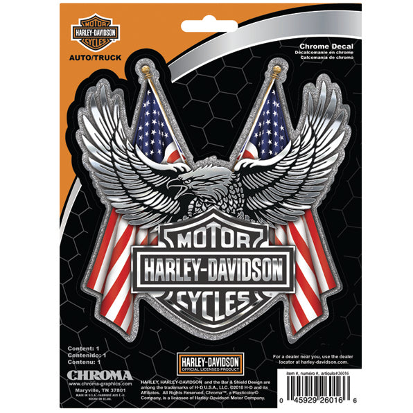 Embossed Bar & Shield Eagle Flag Chrome Decal CG26016