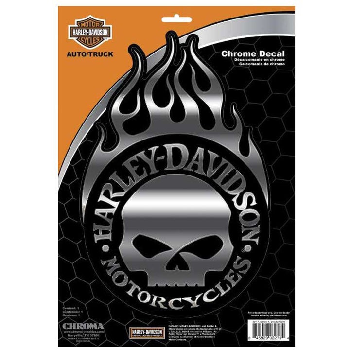 Willie G Skull With Flames- Decal CG3279