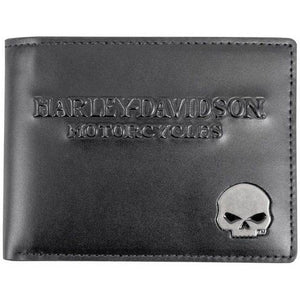 Men's Skull Medallion Leather Billfold w/ Removable ID SM25