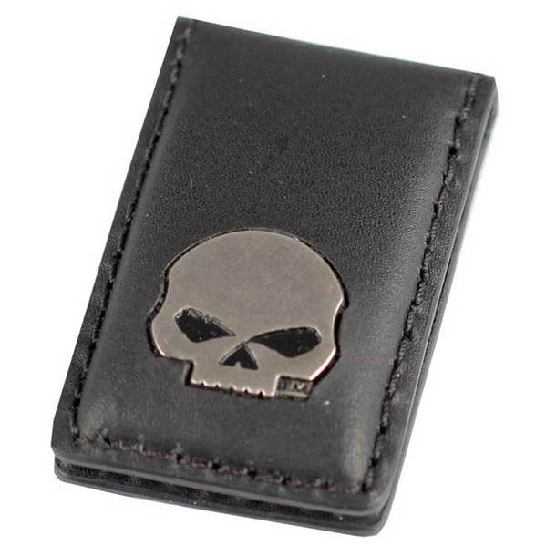 Mens Willie G Skull Medallion Leather Magnetic Money Clip, Black SM62