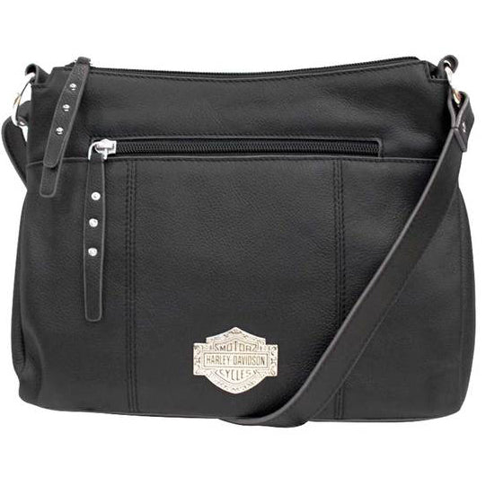 Womens B&S Filigree Logo Pebbled Leather Cross-body Purse FGB9437-BLK