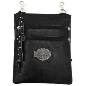 Women's B&S Filigree Logo Pebbled Leather Hip Bag w/Strap FGB9456-BLK