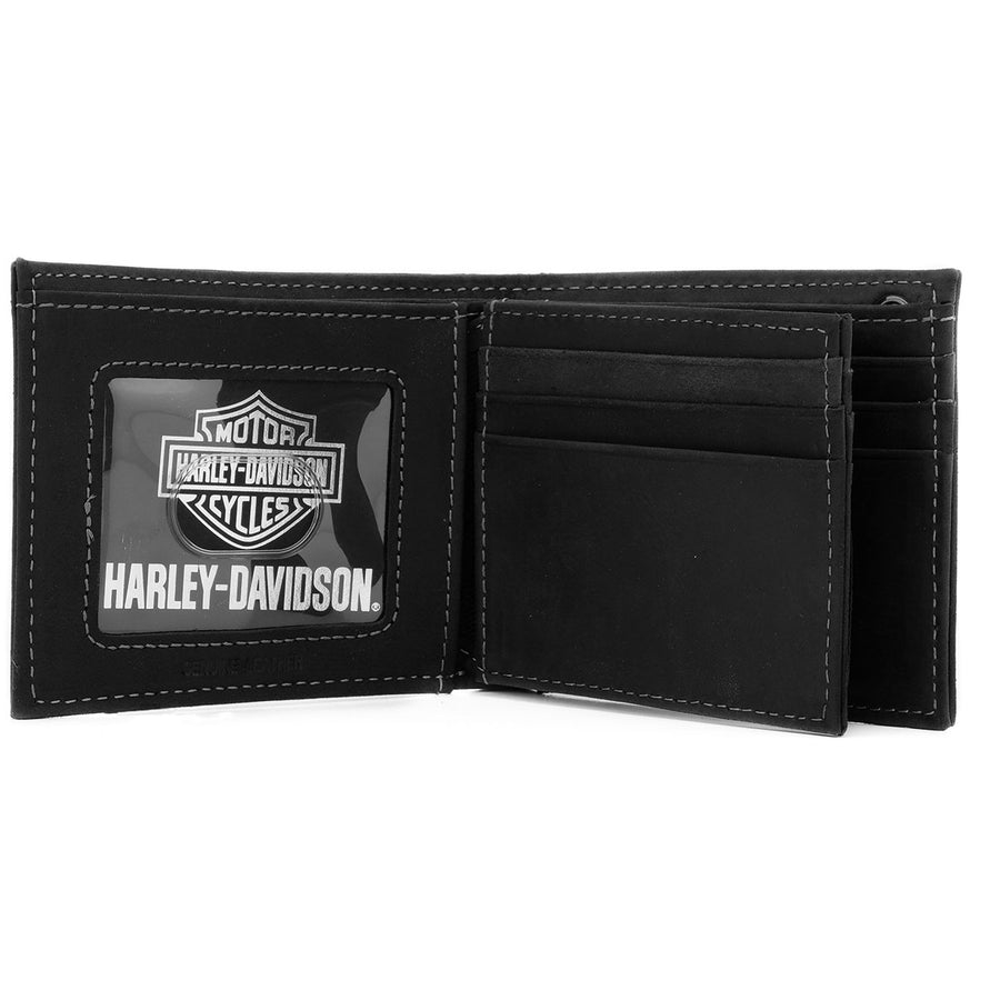 Men's Refuel Outline Black Leather Wallet HDMWA11733