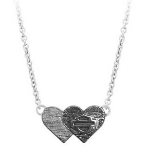 Women's Black & Silver Double Heart B&S Necklace HDN0460-16