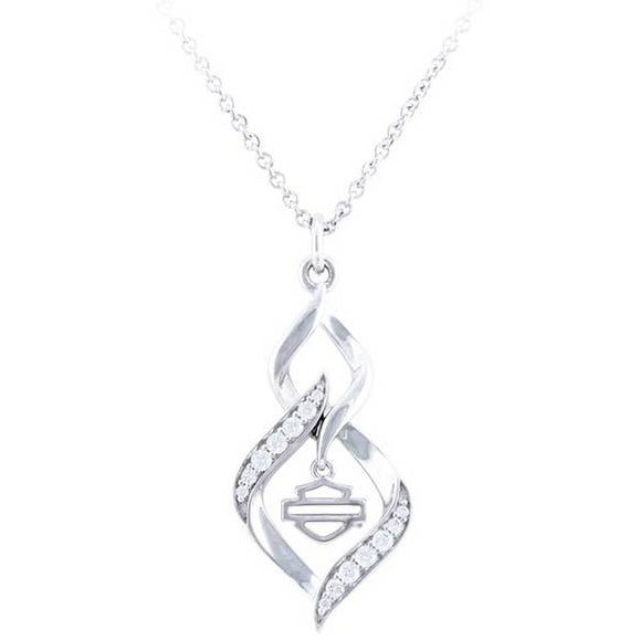 Women's Interlock White Bling Stone Necklace, Silver HDN0464-16