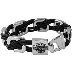 Men's Floating Links Black Leather Steel Bracelet HSB0206