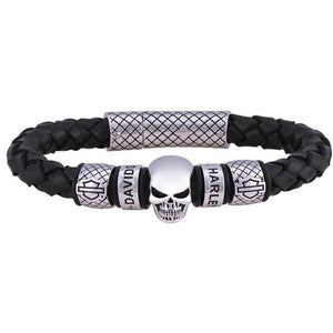 Men's Skull Braided Leather Bracelet HSB0218-9
